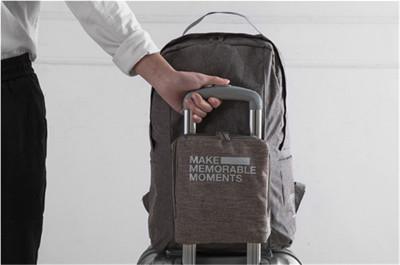 戶外旅行可摺疊拉桿磨砂雙肩後背包 (3.7折)