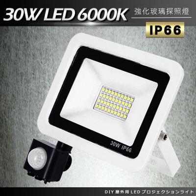 DIY紅外線感應戶外超薄LED泛光燈30W白光6000K洗牆燈/探照燈/投射燈-電壓110V (5.5折)