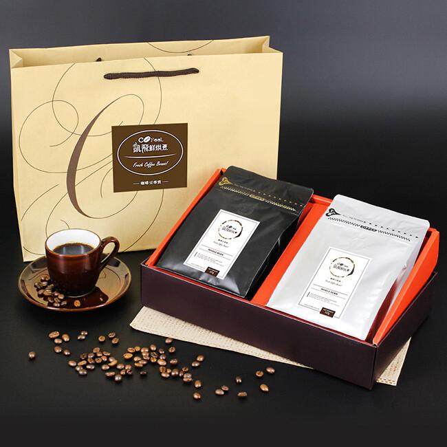 cofeel 凱飛鮮烘豆手提一磅凱飛極鮮豆耶加雪夫中烘焙+黃金曼特寧中深烘焙咖啡豆禮盒