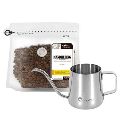 CoFeel 凱飛鮮烘豆印尼蘇門答臘黃金曼特寧中深烘焙咖啡豆半磅+魔法瓶咖啡手沖細嘴壺 (4.2折)