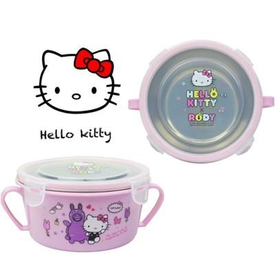【賣客王國】HELLO KITTY 不鏽鋼雙耳隔熱碗/幼兒學習隔熱餐碗 (5.1折)