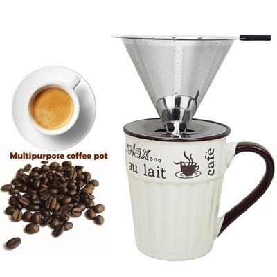 【獨享沖泡咖啡組】大號316不銹鋼濾杯+400cc休閒時光馬克杯/泡咖啡 泡茶濾杯 手沖咖啡濾器 (6.6折)