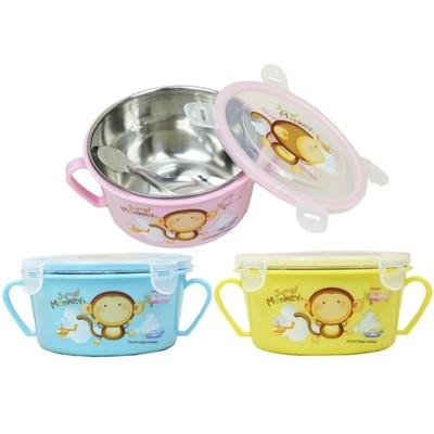 【賣客王國】Jump2 monkey跳跳猴不鏽鋼雙耳隔熱碗/幼兒學習隔熱碗(內附湯匙3色出貨) (5.1折)