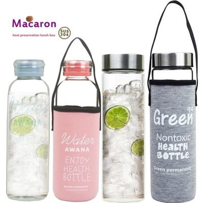 【賣客王國】馬卡龍 窄口X2+寬口耐x2熱玻璃水瓶l附提把套(4入組隨機出貨) (1.3折)