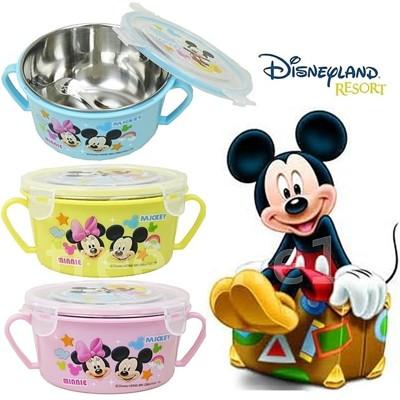 【賣客王國】迪士尼家族不鏽鋼雙耳隔熱碗/幼兒學習隔熱碗(內附湯匙3色出貨) (5.1折)