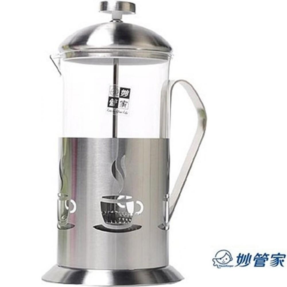 妙管家法式不銹鋼玻璃濾茶壺700ml沖茶器泡茶壺