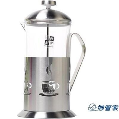 【妙管家】法式不銹鋼玻璃濾茶壺700ml/沖茶器/泡茶壺 (4.9折)