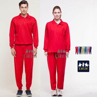 紅色 套裝 素 團體服 工作服 長袖 男 女 Polo衫 (2.5折)
