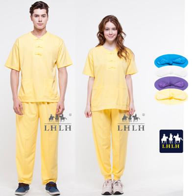 黃色 唐人裝 運動套裝 盤扣上衣 廟會服裝 短袖 女生 男生 (2.5折)