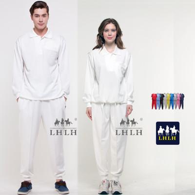 男女純白色運動套裝 素面 素色 團體制服 長袖 Polo衫 (2.8折)