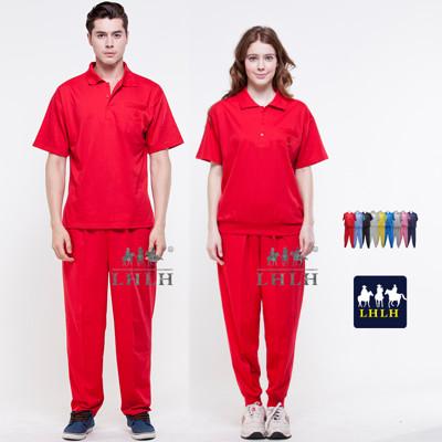 紅色 休閒服套裝 工作服 短袖 男 女 Polo衫 (2.5折)