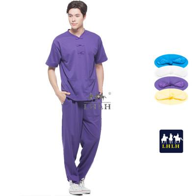 深紫色 中國風 運動套裝 唐裝 休閒套裝 短袖 男生 女生 (2.5折)