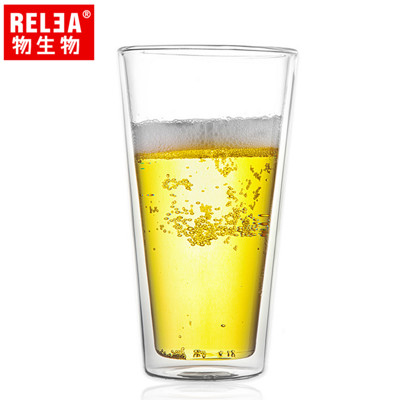 【香港RELEA物生物】470ml寬口耐熱雙層玻璃杯 (4.2折)