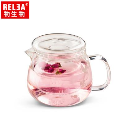 【香港RELEA物生物】500ml小花耐熱玻璃泡茶壺(附濾茶器) (5折)