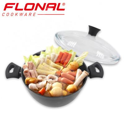 【義大利Flonal】T-TAN鈦空系列不沾雙耳湯鍋(24cm/5.0L)附Pyrex玻璃鍋蓋 (5.3折)
