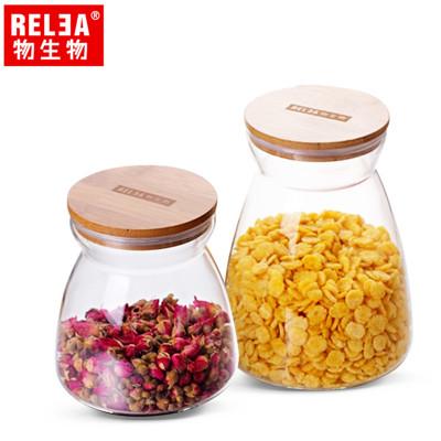 【香港RELEA物生物】竹蓋梯形耐熱玻璃密封罐 兩款 (4.1折)