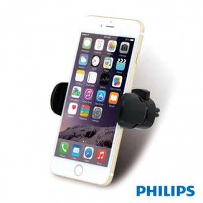 【PHILIPS飛利浦】360度旋轉夾式冷氣出風孔專用手機車架DLK13011(黑) (7.4折)