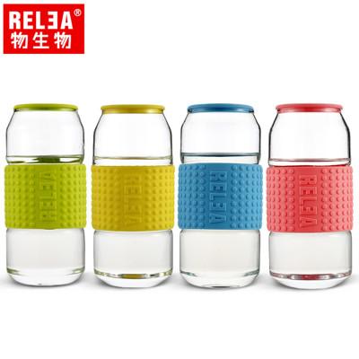 【香港RELEA物生物】450ml耐熱玻璃帶蓋可樂杯 (5折)