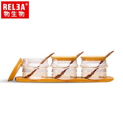 【香港RELEA物生物】耐熱玻璃調味罐3件套裝組含竹蓋、木杓、竹木底盤 (5.4折)