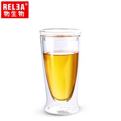 【香港RELEA物生物】380ml耐熱雙層含蓋玻璃杯 (3.6折)