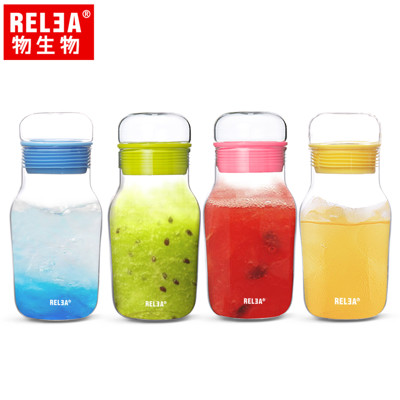 【香港RELEA物生物】320ml艾呆呆耐熱玻璃密封水杯附保溫杯套 四色 (4.1折)
