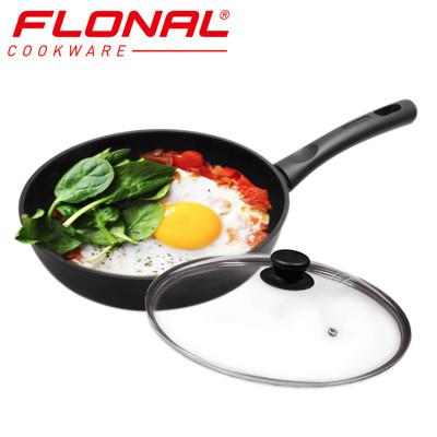【義大利Flonal】T-TAN鈦空系列不沾深煎鍋28cm(含強化玻璃鍋蓋) (4折)