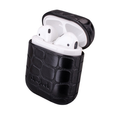 【NavJack】藍芽耳機保護收納殼(附掛繩)-鱷魚黑
