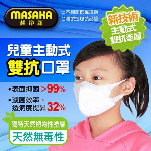 超淨新台灣製造 5~12歲 主動式抑菌雙抗口罩 1盒/20片 康匠代工 天然植物塗層 強力抑菌