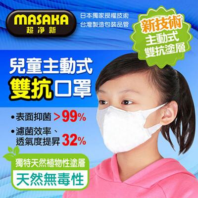 【超淨新】台灣製造 5~12歲 主動式抑菌雙抗口罩 1盒/20片 康匠代工 天然植物塗層 強力抑菌 (7折)
