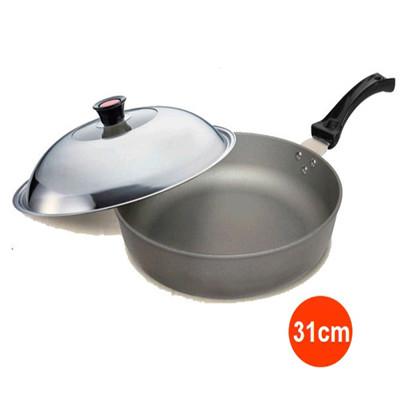 Recona 超硬不沾中華平底鍋-31cm附鍋蓋 (7折)