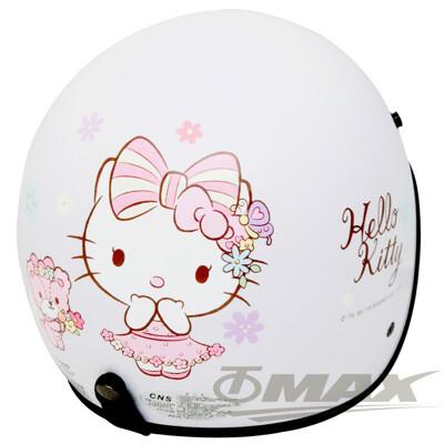 熊Kitty半罩式機車安全帽-白色+抗uv短鏡片+6入安全帽內襯套 (6.4折)