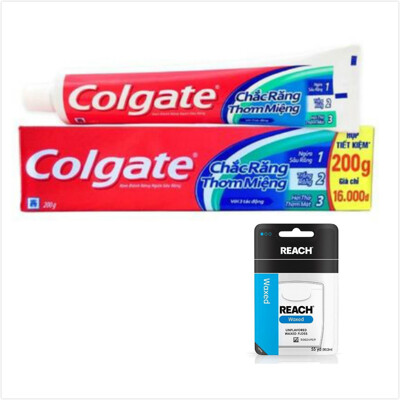 【Colgate 】三效合一牙膏(200g*6)+REACH牙線*3 (9.2折)