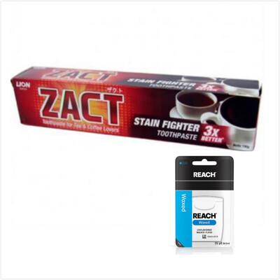 ZACT漬脫牙膏190gx6+REACH牙線*3 (8.8折)