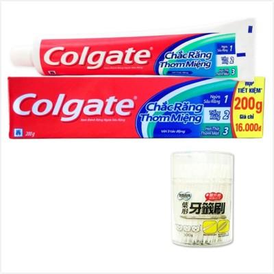 【Colgate 高露潔】三效合一牙膏(200g*12)+【奈森克林】葉形牙籤刷(300支/罐)*6 (7.7折)