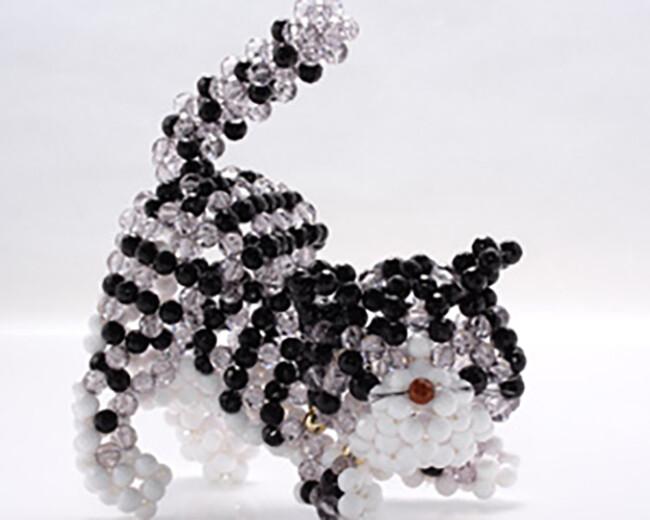 o1-306 俏貓咪-灰白 串珠材料包 小熊媽媽