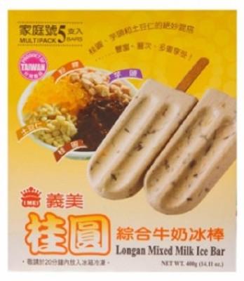 免運冷凍宅配義美桂圓牛奶綜合冰棒87.5g(5支/盒)*12盒 (9.4折)