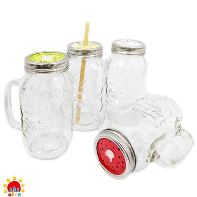 100%植【olina】700ml韓國梅森杯 玻璃果汁杯(蓋附吸管孔)-附吸管6mm+8mm各12入 (5.3折)