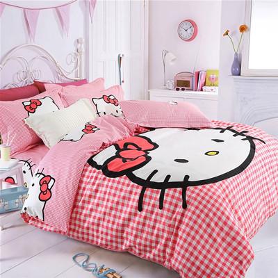 卡通圖案 Hello Kitty 磨毛 全棉 雙人 四件套 被套 枕套 床單 (8.5折)
