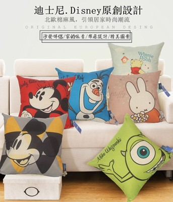 迪士尼米奇/米妮/史迪奇/冰雪奇緣/維尼/米菲兔/毛怪/大眼怪方形抱枕 (3折)