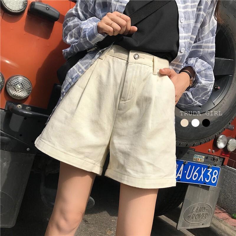 杜達女孩微文青百搭實穿高腰牛仔a字短褲 素色 工裝短褲 a字短褲 顯瘦 休閒短褲 短褲 五分褲