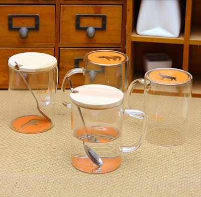 創意杯底世界 動物玻璃杯 (含木蓋與湯匙) (3.3折)
