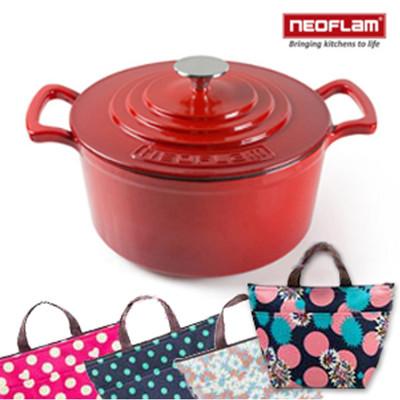 韓國NEOFLAM 24cm厚釜琺瑯鑄鐵湯鍋  買就送牛津布保溫防水便當包 (6.3折)