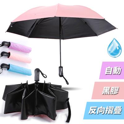 【買達人】8骨黑膠粉彩自動摺疊反向傘 (2.9折)