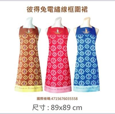 台灣製 彼得兔電繡線框圍裙,二口袋圍裙格子圍廚房圍裙咖啡廳圍裙 餐飲圍裙 活動制服 (3.2折)