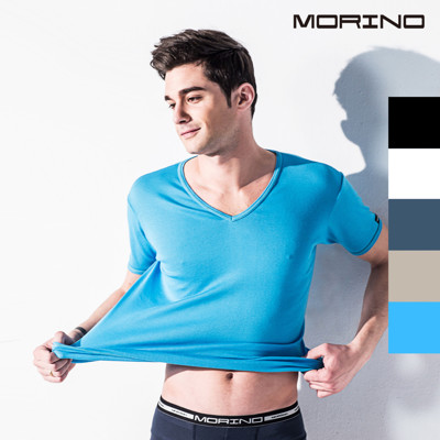 MORINO 抗菌防臭速乾短袖V領衫 (6.8折)