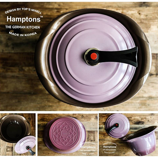 德國hamptons雙耳鑽石紫色鬱金香湯鍋(28cm)