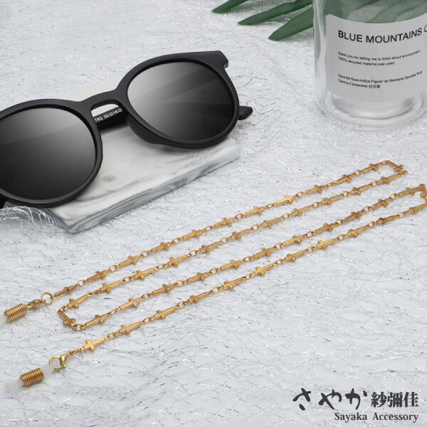 sayaka紗彌佳歐美時尚十字架造型太陽眼鏡鏤空金屬鍊防滑鍊