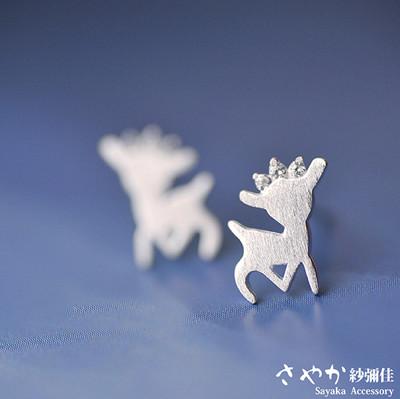 【Sayaka紗彌佳】純銀 耶誕元素甜美皇冠麋鹿耳環 耳針款 (5.4折)