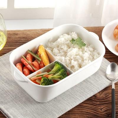 (三格)大容量 純白陶瓷分格雙耳飯盒1000ml 分隔餐盒 保鮮盒 陶瓷便當盒 便當盒 (6.8折)