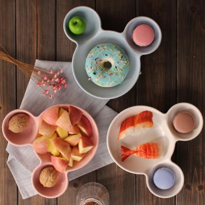 【傑品生活】 米奇造型陶瓷餐盤 米奇盤 米奇餐盤 兒童點心盤 水果盤 米飯盤 烤碗 焗飯盤 分格餐盤 (6.7折)